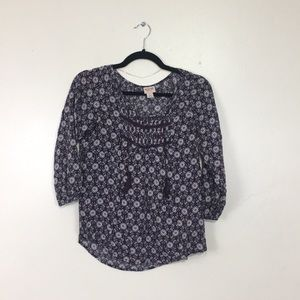 Merona Floral Pattern Purple & Pink 3/4 Sleeve Top